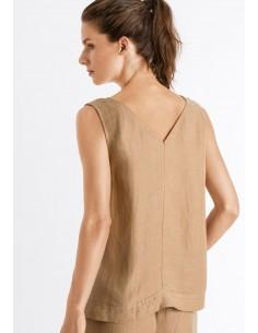 Camisa sin mangas de lino y...