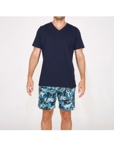 Pijama corto estampado de...