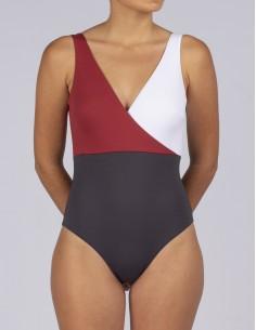 Bañador cruzado tricolor de...